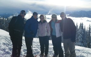 Kent Myers, Lance Myers, Whitney Tennison, Mica Myers, Kyle Myers Snow Shoeing in Olympic Mountains in Washington State