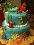 Little Mermaid fondant cake with gun paste figures