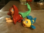 Ariel and Flounder Little Mermaid gum paste cake toppers